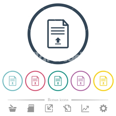 Upload document flat color icons in round outlines - Upload document flat color icons in round outlines. 6 bonus icons included.