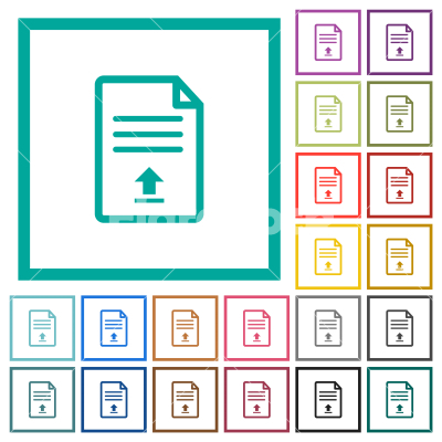 Upload document flat color icons with quadrant frames - Upload document flat color icons with quadrant frames on white background