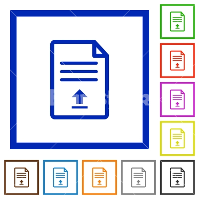 Upload document flat framed icons - Upload document flat color icons in square frames on white background