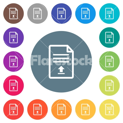 Upload document flat white icons on round color backgrounds - Upload document flat white icons on round color backgrounds. 17 background color variations are included.
