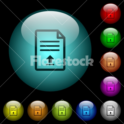 Upload document icons in color illuminated glass buttons - Upload document icons in color illuminated spherical glass buttons on black background. Can be used to black or dark templates