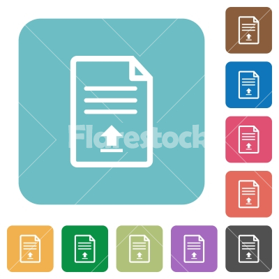 Upload document rounded square flat icons - Upload document white flat icons on color rounded square backgrounds