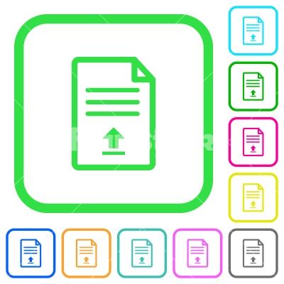 Upload document vivid colored flat icons - Upload document vivid colored flat icons in curved borders on white background