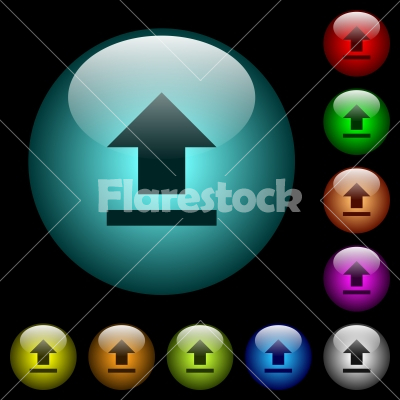 Upload icons in color illuminated glass buttons - Upload icons in color illuminated spherical glass buttons on black background. Can be used to black or dark templates