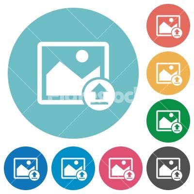 Upload image flat round icons - Upload image flat white icons on round color backgrounds