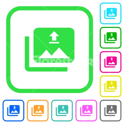 upload multiple images vivid colored flat icons stock vector