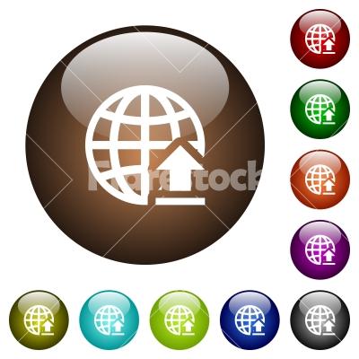 Upload to internet color glass buttons - Upload to internet white icons on round color glass buttons