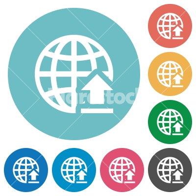 Upload to internet flat round icons - Upload to internet flat white icons on round color backgrounds