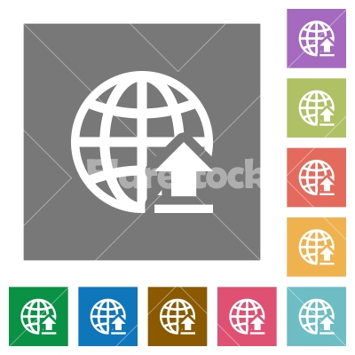 Upload to internet square flat icons - Upload to internet flat icons on simple color square background.