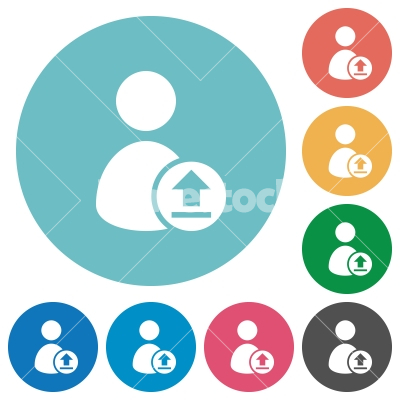 Upload user account flat round icons - Upload user account flat white icons on round color backgrounds