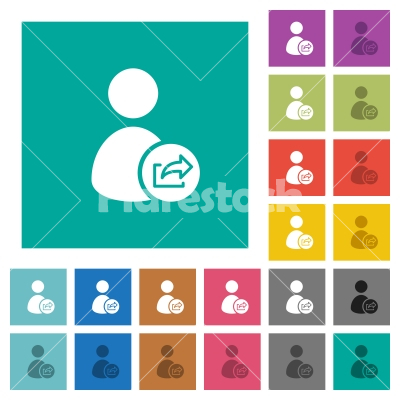 User account export data square flat multi colored icons - User account export data multi colored flat icons on plain square backgrounds. Included white and darker icon variations for hover or active effects.