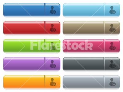 User account statistics icons on color glossy, rectangular menu button - User account statistics engraved style icons on long, rectangular, glossy color menu buttons. Available copyspaces for menu captions.