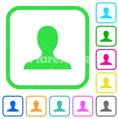User avatar vivid colored flat icons - User avatar vivid colored flat icons in curved borders on white background