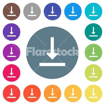 Vertical align bottom flat white icons on round color backgrounds - Vertical align bottom flat white icons on round color backgrounds. 17 background color variations are included.