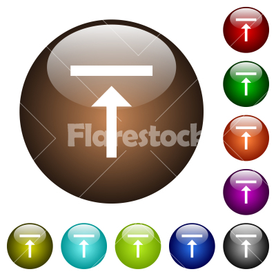 Vertical align top color glass buttons - Vertical align top white icons on round glass buttons in multiple colors