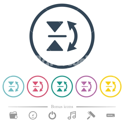 Vertical flip flat color icons in round outlines - Vertical flip flat color icons in round outlines. 6 bonus icons included.