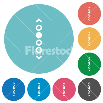 Vertical page navigation flat round icons -  Vertical page navigation flat white icons on round color backgrounds
