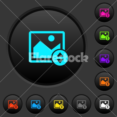 Vertically move image dark push buttons with color icons - Vertically move image dark push buttons with vivid color icons on dark grey background