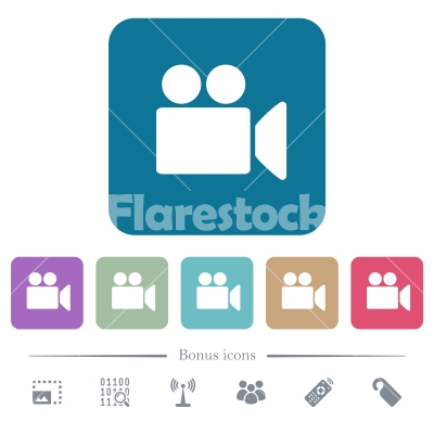 Video camera flat icons on color rounded square backgrounds - Video camera white flat icons on color rounded square backgrounds. 6 bonus icons included - Free stock vector
