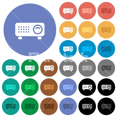 Video projector round flat multi colored icons - Video projector multi colored flat icons on round backgrounds. Included white, light and dark icon variations for hover and active status effects, and bonus shades.