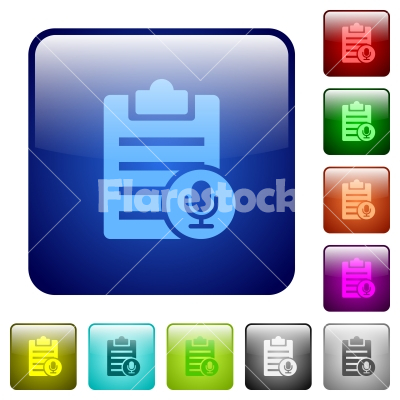 Voice note color square buttons - Voice note icons in rounded square color glossy button set