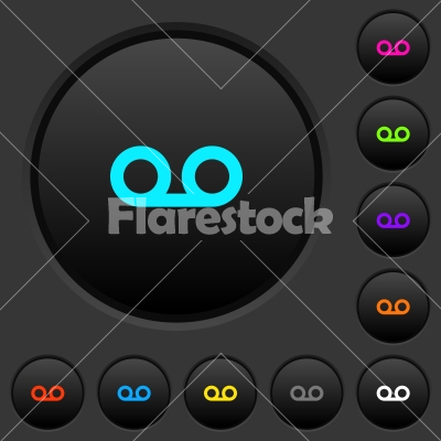 voicemail dark push buttons with color icons stock vector flarestock