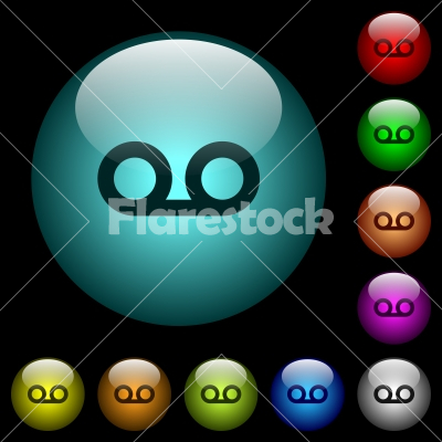 voicemail icons in color illuminated glass buttons stock vector