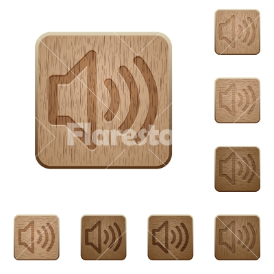 Volume wooden buttons - Set of carved wooden volume buttons. 8 variations included. Arranged layer structure.