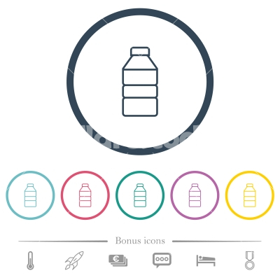 Water bottle flat color icons in round outlines - Water bottle flat color icons in round outlines. 6 bonus icons included.