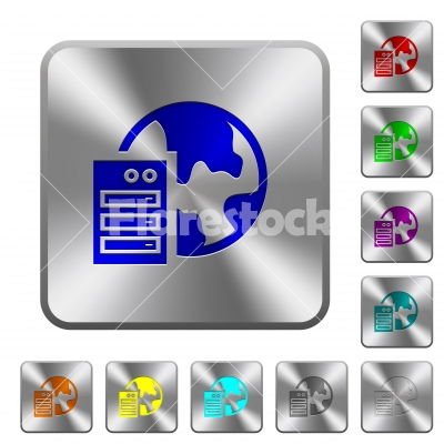 Web hosting rounded square steel buttons - Web hosting engraved icons on rounded square glossy steel buttons