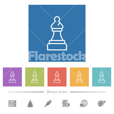 White chess bishop flat white icons in square backgrounds - White chess bishop flat white icons in square backgrounds. 6 bonus icons included.