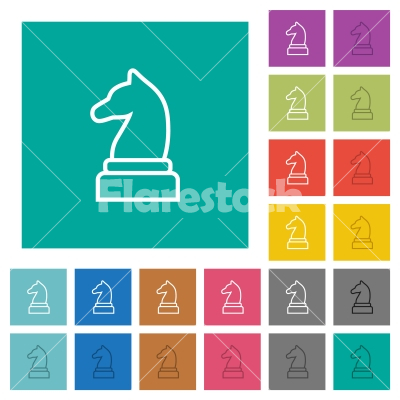 White chess knight square flat multi colored icons - White chess knight multi colored flat icons on plain square backgrounds. Included white and darker icon variations for hover or active effects.