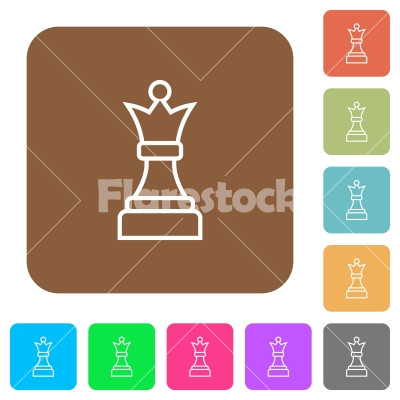 White chess queen rounded square flat icons - White chess queen flat icons on rounded square vivid color backgrounds.