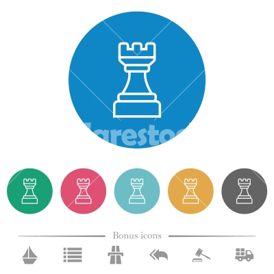 White chess rook flat round icons - White chess rook flat white icons on round color backgrounds. 6 bonus icons included.