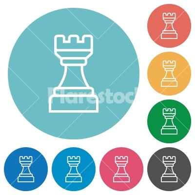White chess rook flat round icons - White chess rook flat white icons on round color backgrounds