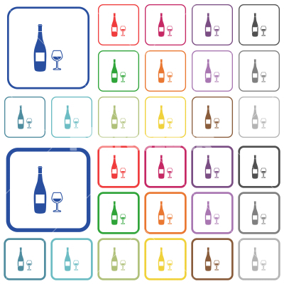 Wine bottle and glass outlined flat color icons - Wine bottle and glass color flat icons in rounded square frames. Thin and thick versions included.