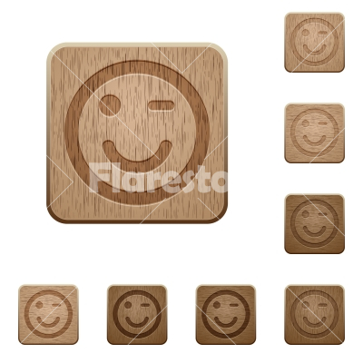 Winking emoticon wooden buttons - Set of carved wooden winking emoticon buttons in 8 variations.