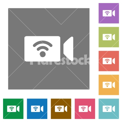 Wireless camera square flat icons - Wireless camera flat icons on simple color square backgrounds