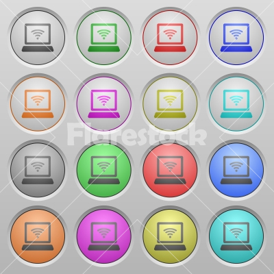 Wireless computer plastic sunk buttons - Set of wireless computer network plastic sunk spherical buttons. - Free stock vector