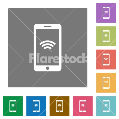 Wireless mobile square flat icons - Wireless mobile flat icon set on color square background.