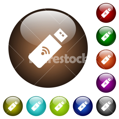 Wireless usb stick color glass buttons - Wireless usb stick white icons on round color glass buttons