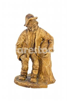 Wooden statue - Hand-carved statue isolated on white background