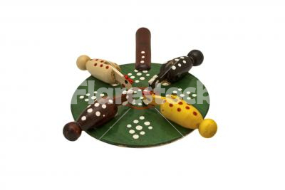 Wooden toy - Handmade and hand-painted wooden toy isolated on white