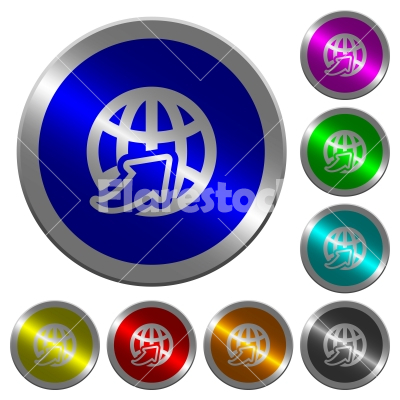 Worldwide luminous coin-like round color buttons - Worldwide icons on round luminous coin-like color steel buttons