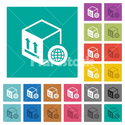 Worldwide package transportation square flat multi colored icons - Worldwide package transportation multi colored flat icons on plain square backgrounds. Included white and darker icon variations for hover or active effects.