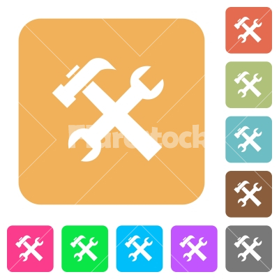Wrench and hammer tools rounded square flat icons - Wrench and hammer tools flat icons on rounded square vivid color backgrounds.