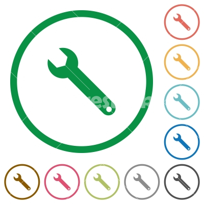 Wrench outlined flat icons - Set of wrench color round outlined flat icons on white background