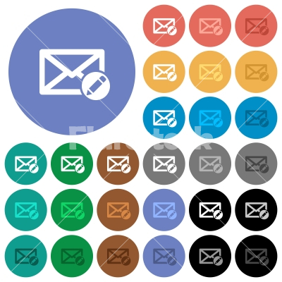 Write mail round flat multi colored icons - Write mail multi colored flat icons on round backgrounds. Included white, light and dark icon variations for hover and active status effects, and bonus shades on black backgounds.