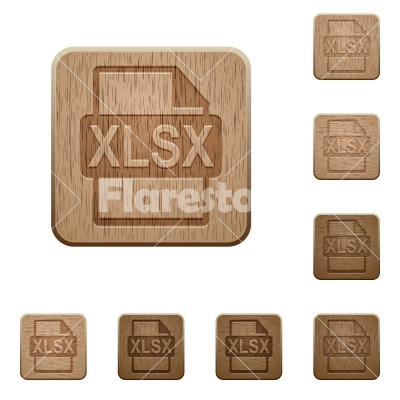 XLSX file format wooden buttons - Set of carved wooden XLSX file format buttons in 8 variations. - Free stock vector