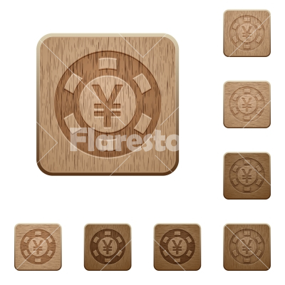 Yen casino chip wooden buttons - Set of carved wooden Yen casino chip buttons in 8 variations.